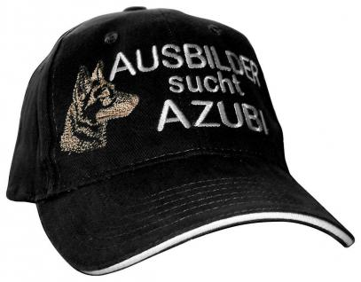 Baumwollcappy - Cap mit Schäferhund - Stick - Ausbilder sucht Azubi - 69726 schwarz - Baumwollcap Baseballcap Schirmmütze Hut