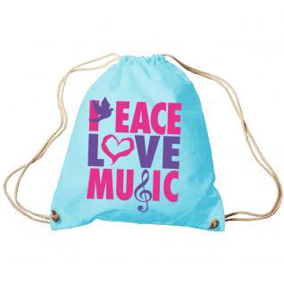 Trend-Bag Turnbeutel Sporttasche Rucksack mit Print - Peace Love Music - TB09017 - Vorschau 2