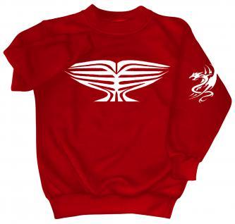 Sweatshirt mit Print - Tattoo Drache - 09031 - versch. farben zur Wahl - Gr. S-XXL rot / M