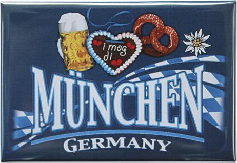 Kühlschrankmagnet - MÜNCHEN GERMANY BREZEL BIERGLAS HERZ - Gr. ca. 8cm x 5, 5cm - 38752 - Küchenmagnet