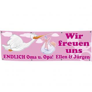 Banner Werbebanner - Wir freuen uns Endlich Oma u. Opa - MÄDCHEN - 3x1m - Spannband für Ihren Werbeauftritt / Bedruckt mit Ihrem Motiv - Spezialanfertigung Einzelanfertigung 309940