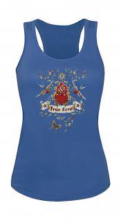 """(T09377) Tank- Top mit edlem Aufdruck """" True Love"""" in 5 Farben blau / S"""