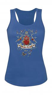 """(T09377) Tank- Top mit edlem Aufdruck """" True Love"""" in 5 Farben blau / XL"""