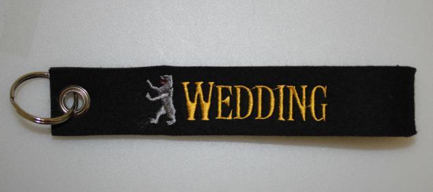 Filz-Schlüsselanhänger mit Stick - Wedding - Gr. ca. 17x3cm - 14305