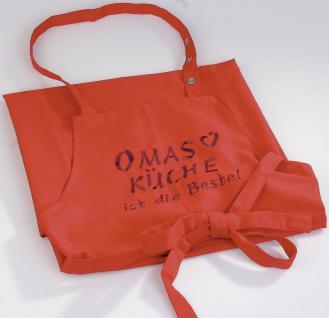 """(12535rot) Grillschürze """" Omas Küche ist die Beste"""" rot"""