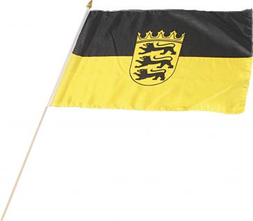 Stockländerfahne Schwenkfahne - Wappen - BADENWÜRTTEMBERG - Gr. ca. 40 x 30cm - 07605 - Flagge mit Holzstock