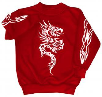 Sweatshirt mit Print - Tattoo - 09067 - versch. farben zur Wahl - rot / XL
