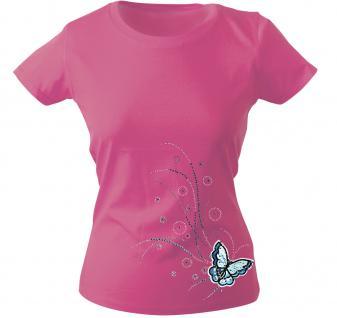 Girly-Shirt mit Print - Schmetterling - 12854 - versch. farben zur Wahl - rosa / XXL