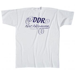 Kinder T-Shirt mit Aufdruck - DDR Nachkomme - 06927 - weiß - Gr. 98/104