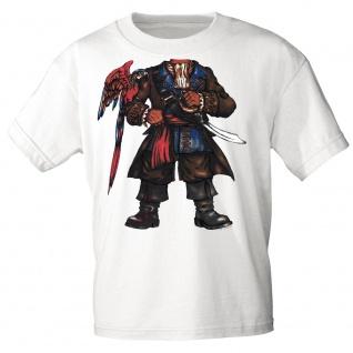 Kinder T-Shirt mit Print Pirat Seeräuber 15731 Gr. weiß / 134/146
