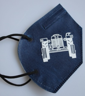 1 FFP2 Maske in Blau Deutsche Herstellung mit Print - TRAKTOR - 15231