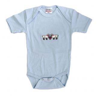 Babystrampler mit Einstickung ? Schäfchen - 08338 blau - Gr. 0-24 Monate