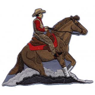 """AUFNÄHER """" Pferd Cowboy Rodeo Westernreiten"""" NEU Gr. ca. 18cm x 16cm (07384) Stick Patches Abzeichen Applikation"""