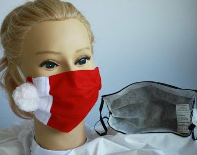 Textil Design Maske aus Baumwolle, mit zertifiziertem Innenvlies - Weihnachten Rot-Weiß Puschel