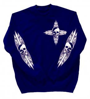 Sweatshirt mit Print - Totenkopf - 10119 - versch. farben zur Wahl - Gr. Royal / S