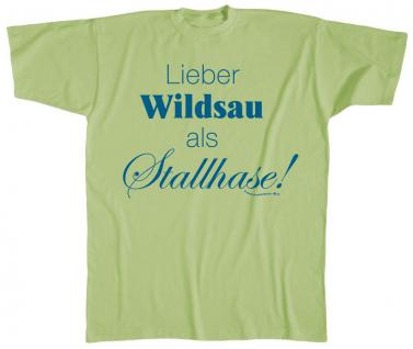 T-SHIRT unisex mit Print - Lieber Wildsau... - 10508 hellgrün - Gr. L