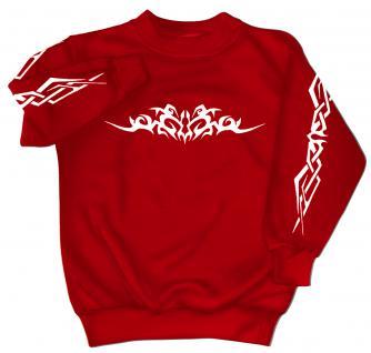 Sweatshirt mit Print - Tattoo - 09073 - versch. farben zur Wahl - rot / 3XL