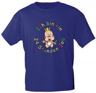 Kinder T-Shirt mit Aufdruck - Ich bin ein 24 Stunden Job - 08272 - blau - Gr. 134/146