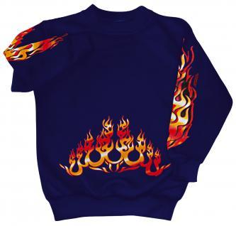 Sweatshirt mit Print - Feuer Flammen Fire- 10115 - versch. farben zur Wahl - blau / M