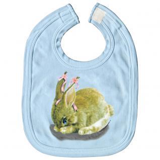 Baby-Lätzchen mit Print - Hase Kanninchen - L12778 - hellblau