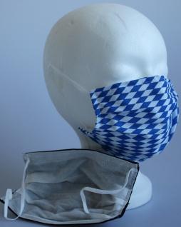 Textil Design-Maske waschbar aus Baumwolle mit Innenvlies - Blau-Weiß Rauten klein + Zugabe