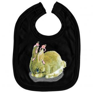 Baby-Lätzchen mit Print - Hase Kanninchen - L12778 - schwarz