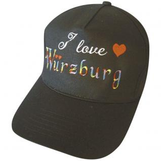 Cap - Schirmmütze mit regenbogenfarbenen Großstick - I love Würzburg - 68851 schwarz - Baumwollcap Cappy Baseballcap Hut