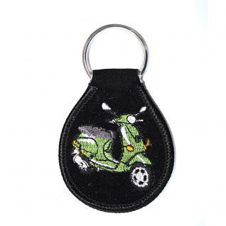 Schlüsselanhänger aus Stoff mit Einstickung - Mofa - Gr. ca. 6, 5x5cm - 02371 - Keyholder