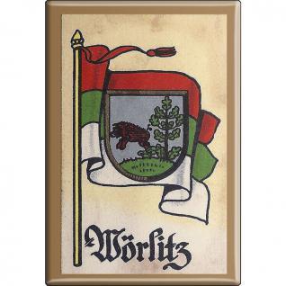 Kühlschrankmagnet - Wappen Wörlitz - Gr. ca. 8 x 5, 5 cm - 37554 - Magnet Küchenmagnet