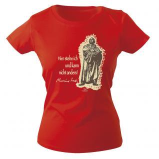Girly-Shirt mit Print - Luther - G12623 - versch. farben zur Wahl - rot / XS