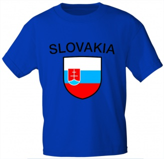 Kinder T-Shirt mit Print - Slowakei - 76151 - blau 122/128