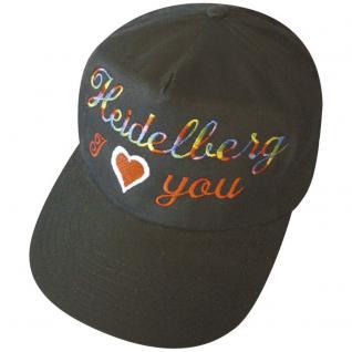 Schirmmütze - Cap mit Heidelberg- Einstick - Regenbogen - I love you Heidelberg - 69265 schwarz - Baumwollcap Baseballcap Hut Cappy