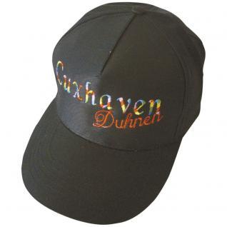 Cap - Schirmmütze regenbogenfarbig bestickt - Cuxhaven Duhnen - 68871 schwarz - Baumwollcap Cappy Baseballcap Hut