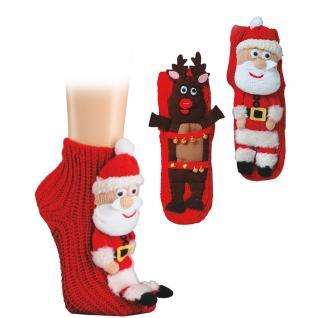 Stricksocken mit 3D Applikationsmotiv Weihnachtsmann 56901