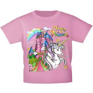 Kinder T-Shirt mit Print - Einhorn Schloß Zauber - 12430 versch. Farben Gr. 110-164 rosa / 134/146