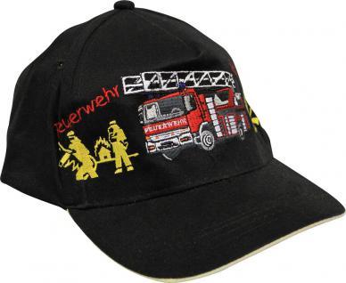 Kinder BaseCappy mit Feuerwehr-Bestickung - Feuerwehr Löschzug - 68175-2 schwarz - Baumwollcap Baseballcap Hut Cap Schirmmütze