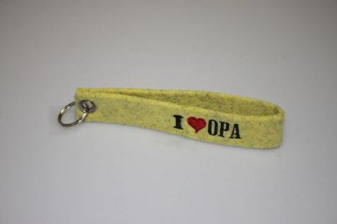 Filz-Schlüsselanhänger mit Stick I love Opa Gr. ca. 17x3cm 14405 gelb