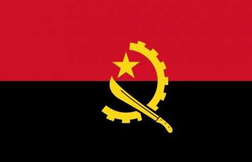 FAHNE FLAGGE - Angola 012 - NEU - Gr. 40cm x 30cm - Länderflagge zur Befestigung an z.B. der Autoscheibe