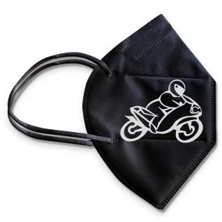 1 FFP2 Maske in Schwarz mit Aufdruck - Motorrad - 15380