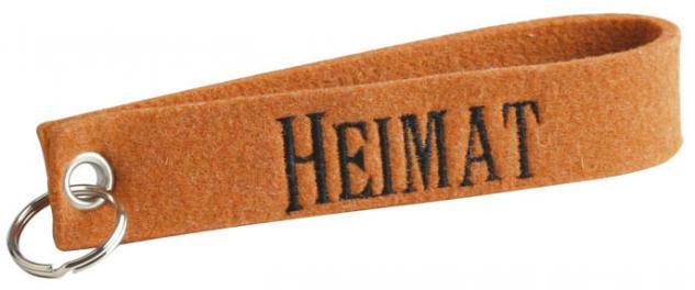 Filz-Schlüsselanhänger mit Stick Heimat Gr. ca. 17x3cm - 14073 orange