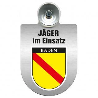 Einsatzschild mit Saugnapf Jäger im Einsatz 393821 Region Baden