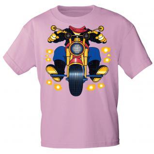 Kinder Marken-T-Shirt mit Motivdruck in 13 Farben Motorrad K12780 rosa / 134/146