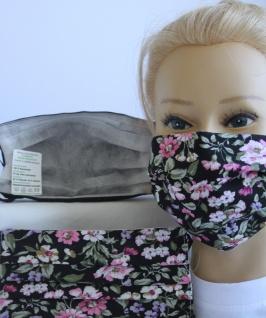 Textil Design-Maske waschbar aus Baumwolle - Blumen Schwarz-Rosa-Oliv + Zugabe
