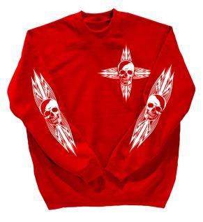 Sweatshirt mit Print - Totenkopf - 10119 - versch. farben zur Wahl - Gr. rot / XXL