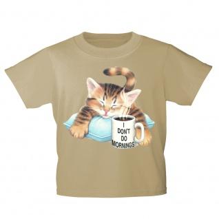 Kinder T-Shirt mit Print Cat KatzeTasse Kaffee KA076/1 Gr. 122-164