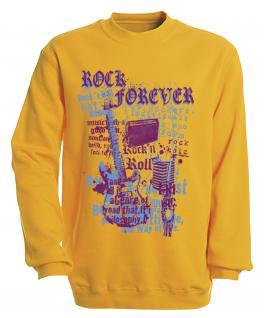 Sweatshirt mit Print - Rock forever - S10254 - versch. farben zur Wahl - Gr. gelb / S