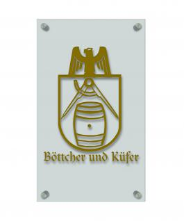 Zunft- Schild - Handwerker-Zeichen - edle Acryl-Kunststoff-Platte mit Beschriftung - Böttcher und Küfer - in gold, silber, schwarz oder weiß - 309434 gold