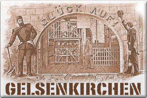 Küchenmagnet - Glückauf Gelsenkirchen - Gr. ca. 8 x 5, 5 cm - 38277 - Magnet Kühlschrankmagnet