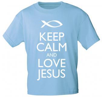 T-Shirt mit Print - Keep calm and love Jesus - 12910 - versch. Farben zur Wahl - Gr. S-2XL hellblau / M