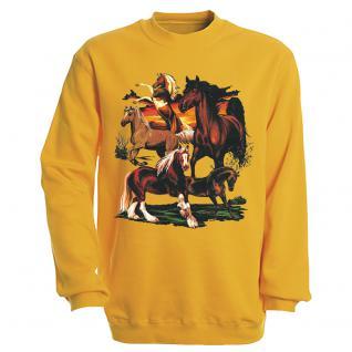 """Sweat- Shirt mit Motivdruck in 6 Farben """" Pferde"""" S12668 gelb / M"""